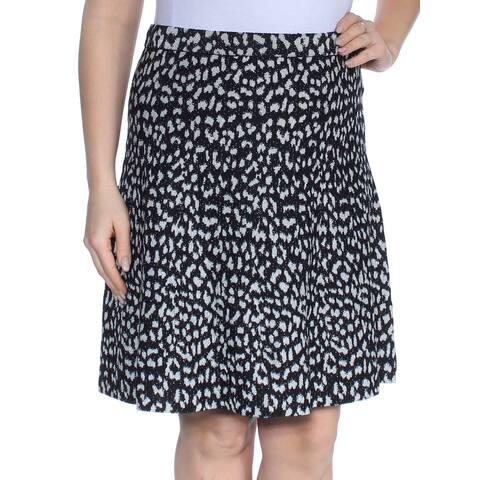 MICHAEL KORS Womens Black Animal Print Above The Knee A-Line Wear To Work Skirt Size: L