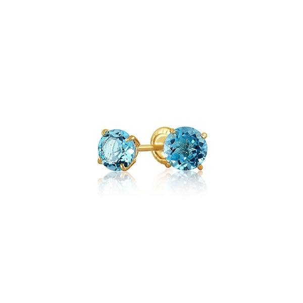 Bling Jewelry 14k Gold Blue Topaz Gemstone Baby Safety Back Earrings 4mm