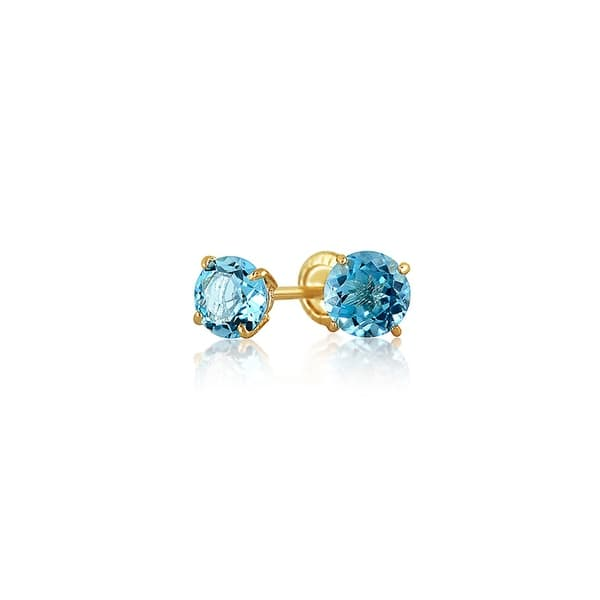 f6e42c0f9 Tiny Cubic Zirconia Light Blue Imitation Blue Topaz CZ Round Solitaire Stud  Earrings Real 14K Yellow Gold Screwback