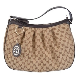 Gucci 364843 Brown Canvas GG Charm Guccissima Sukey Purse Bag Hobo