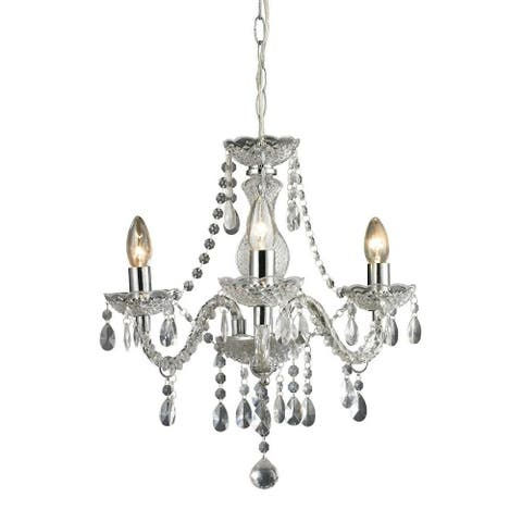 French Country 3-Light Chrome Clear Finish Chandelier Made Of Acrylic Glass Metal - 17.5X16 Inches