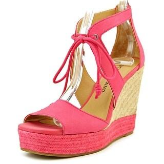 Lucky Brand Listalia Open Toe Leather Wedge Heel