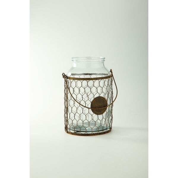 """10"""" Clear and Brown Cylindrical Hand Blown Glass Vase with Netted Cage - N/A"""