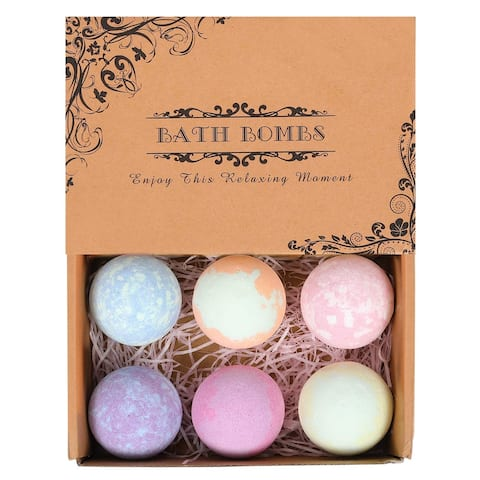 6 Pack Organic Natural Bath Bombs Gift Set for Women Mom and Kids - Multi-Color