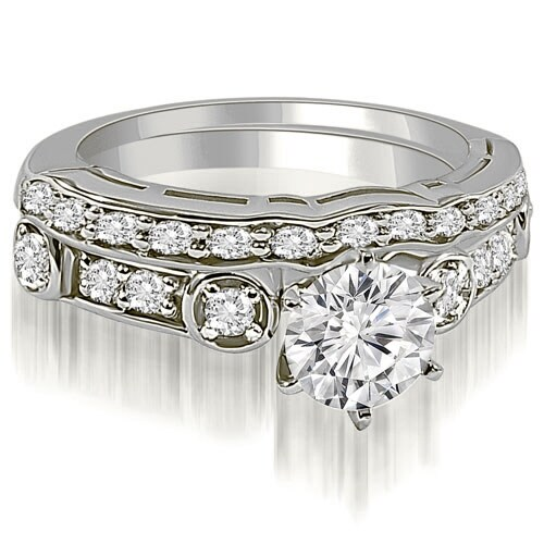 1.00 cttw. 14K White Gold Vintage Round Cut Diamond Bridal Set