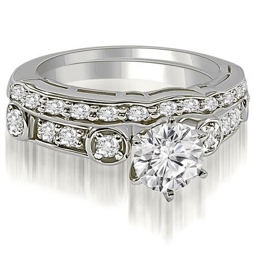 1.50 cttw. 14K White Gold Vintage Round Cut Diamond Bridal Set
