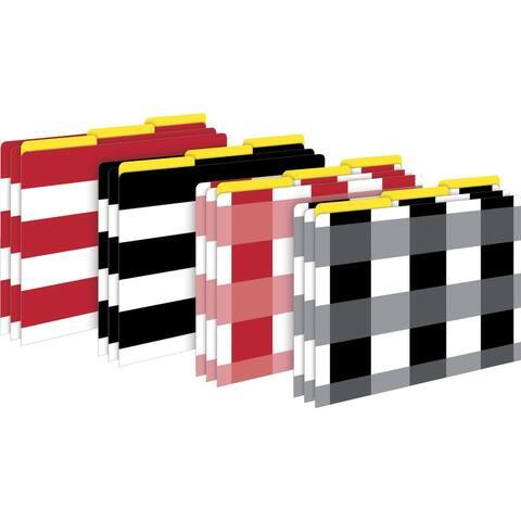Barker Creek File Folders, Letter Size, Buffalo Plaid-Wide Stripes, Multiple Colors, Set of 12