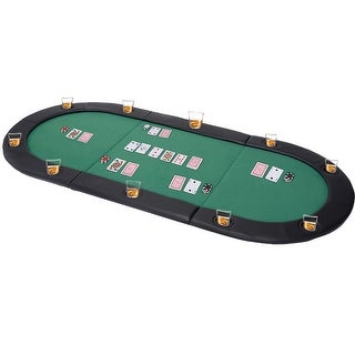 Costway 79''x36'' Portable Tri-Fold Oval Padded Poker Table Top Folding With Carrying Case