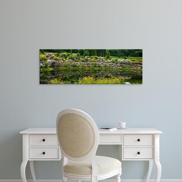 Easy Art Prints Panoramic Images's 'Rocks and plants in Rock Garden, Knowlton, Quebec, Canada' Premium Canvas Art