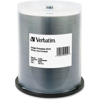 Verbatim 700MB 52x 80 Minute White Inkjet and Hub Printable Recordable Disc CD-R, 100-Disc Spindle 95252