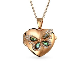 Bling Jewelry Abalone Shell CZ Butterfly Heart Shpaed Locket Pendant Rose Gold Plated Necklace 18 Inches - Pink