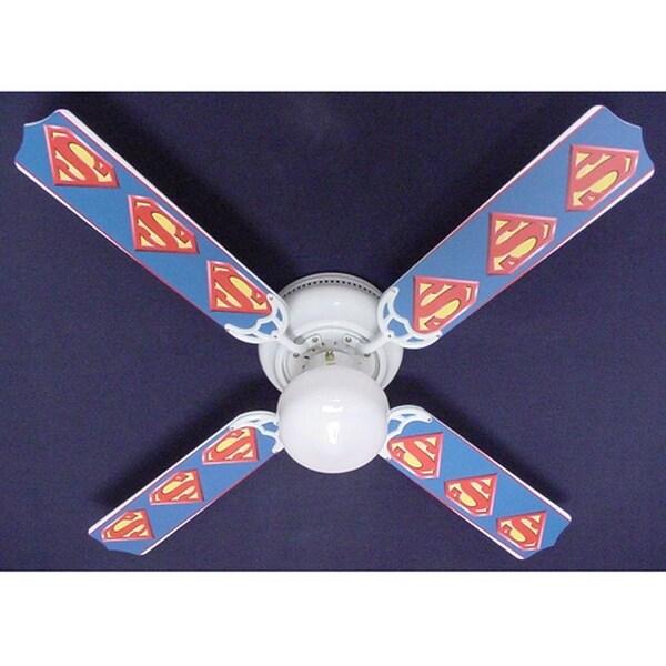 Boys Superman Print Blades 42in Ceiling Fan Light Kit - Multi