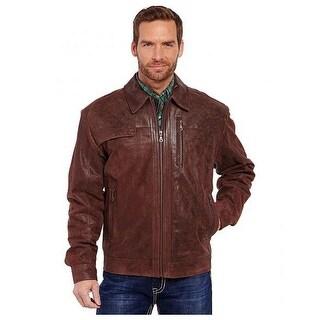 Cripple Creek Western Jacket Mens Zip Leather Pointed Collar ML8328