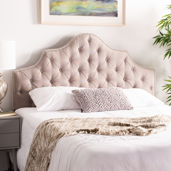 SAFAVIEH Arebelle Taupe Linen Upholstered Tufted Headboard - Silver Nailhead (Queen). Opens flyout.