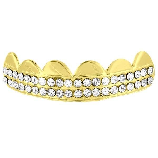 14k Yellow Gold Finish Iced Out Top Teeth