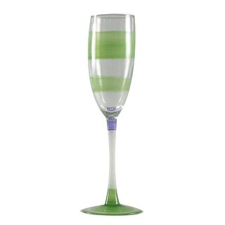Set of 2 Green Retro Stripe Hand Painted Champagne Drinking Glasses - 5.75 Oz.