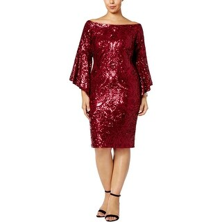 Betsy & Adam Womens Plus Special Occasion Dress Sparkle Bell Sleeve