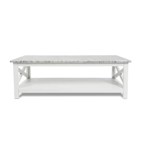 "Agatha 44"" Rectangular Italian Carrara White Marble Coffee Table with solid wood Legs"