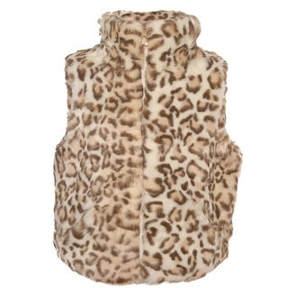 Urban Republic Little Girls Ivory Tan Leopard Pattern Faux Fur Trendy Vest