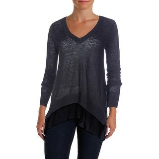 Aqua Womens Linen Chiffon Trim Sweater