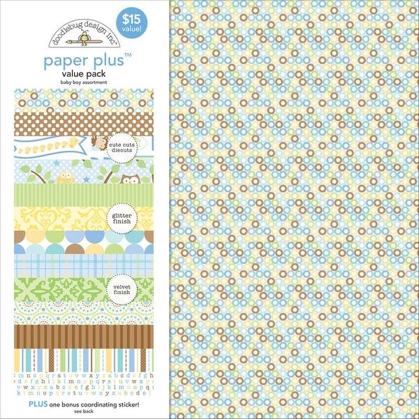 """Doodlebug Paper Plus Value Pack 12""""X12"""" 8/Pkg-Baby Boy"""