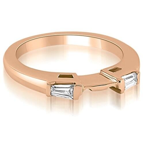 0.15 cttw. 14K Rose Gold Baguette Cut Diamond Wedding Band
