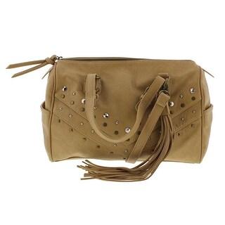 Carlos Santana Womens Bianca Faux Leather Studded Satchel Handbag - Nude - Medium