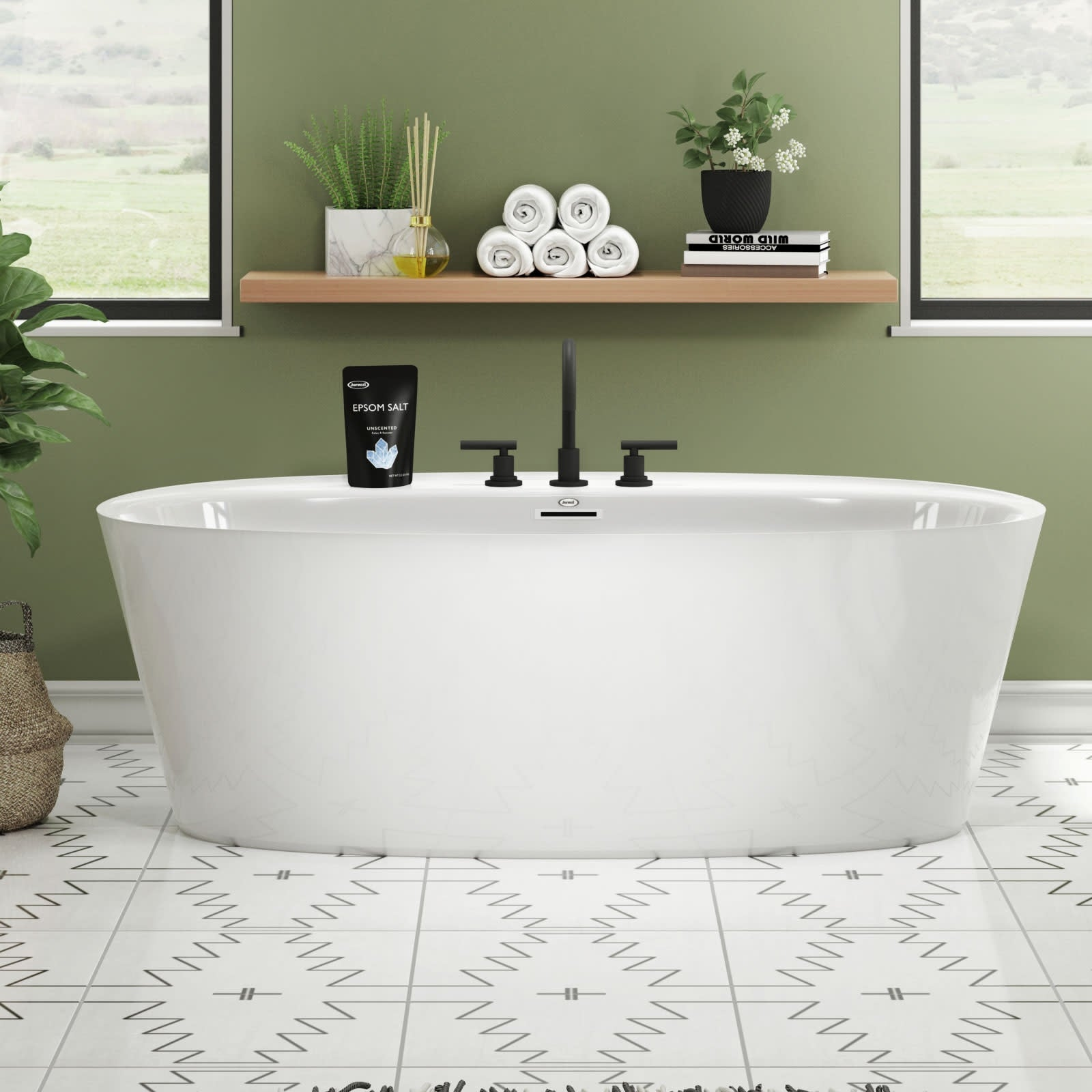 Jacuzzi Amf6734bcxxxx Amalia 67 Free Standing Acrylic Soaking Tub With Center Drain Pop Up Drain Assembly And Overflow