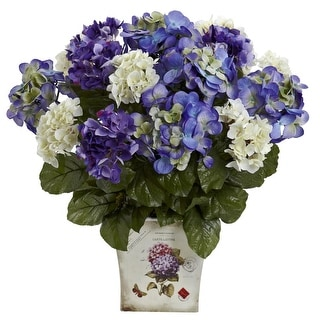 Nearly Natural Mixed Hydrangea with Floral Planter