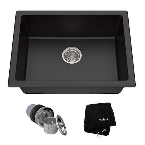 KRAUS Granite 24 inch 1-Bowl Undermount Drop-in Kitchen Sink