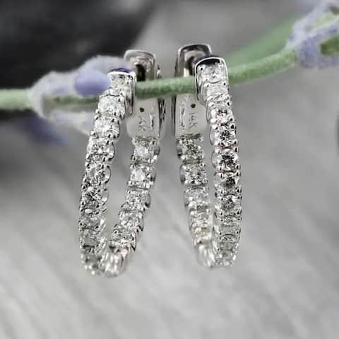 Auriya 14k Gold 1 carat TW Small Diamond Hoop Earrings - 0.75-inch