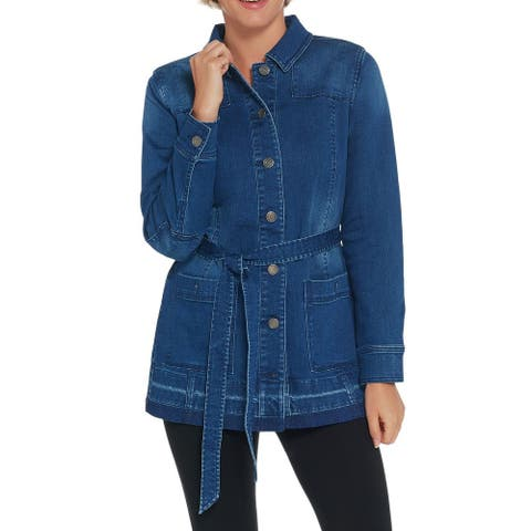 Isaac Mizrahi Live! Womens Jacket Blue Size 16 Denim Utility Belted