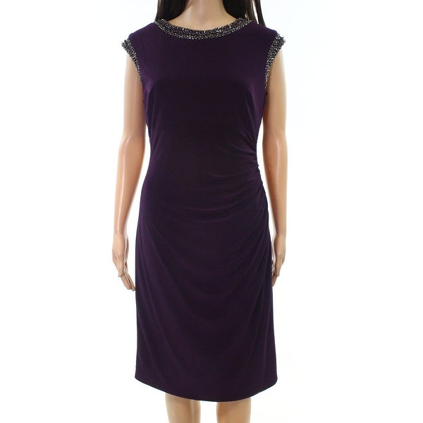 Vince Camuto Womens Embellished Ruched Sheath Dress