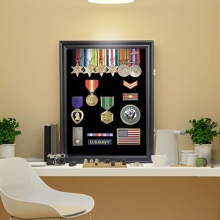 Kinbor Military Challenge Coin Display Case, Lockable Chip Rack Holder Shadow Box w/ Glass Door