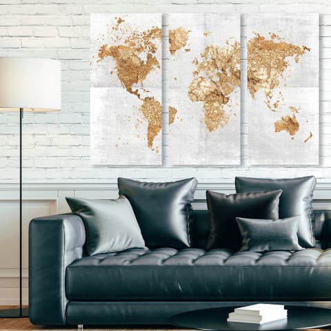 Oliver Gal 'Mapamundi on the Rocks Triptych' Maps and Flags Wall Art Canvas Print Set - Gold, White
