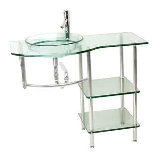 Glass Console Bathroom Sink Stainless Wall MountVanity Renovator's Supply