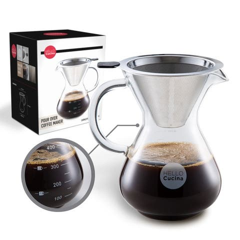 Hello Cucina 13.5 Oz Coffee Maker with Stainless Steel Permanent Filter
