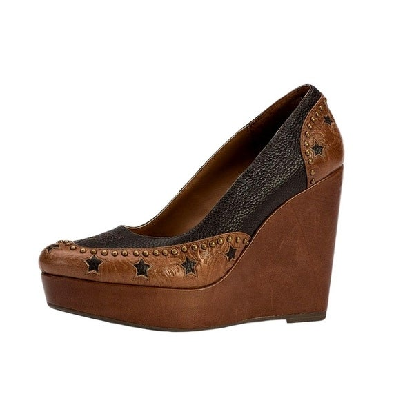 YK Branded Western Shoes Women Stars at Night Saddle Brown