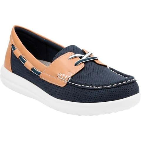 Clarks Women's Jocolin Vista Boat Shoe Navy Perforated Textile