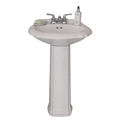 """Fine Fixtures Ceramic 22-inch White Pedestal Sink - 22"""""""