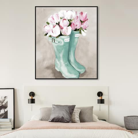 Oliver Gal 'Tulips In Spring Boots' Floral and Botanical Wall Art Framed Canvas Print Florals - Pink, Green