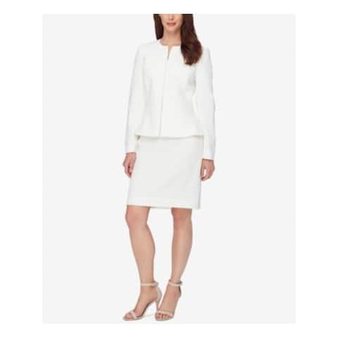 TAHARI Womens Ivory Suit Wear To Work Skirt Suit Size 2