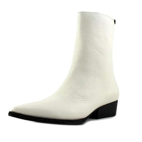 Calvin Klein Jeans Kiki Women Pointed Toe Leather White Mid Calf Boot