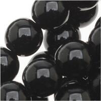 Czech Glass Druk Round 6mm Jet Black (50 Beads)