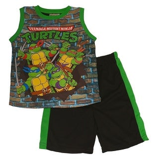 Nickelodeon Little Boys Green TMNT Cartoon Printed Top 2 Pc Shorts Set