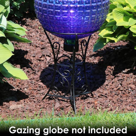 """Scroll Gazing Ball Stand fits 10"""" or 12"""" Globes - Black Steel - 11"""""""
