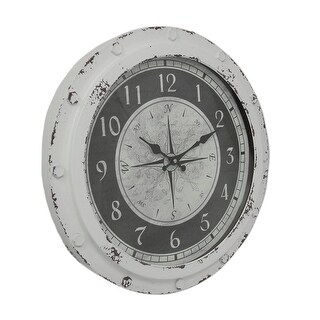 Weathered White Metal Round Compass Rose 18 inch Wall Clock