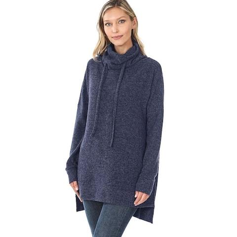 JED Women's Funnel Neck Melange Sweater Tunic Top