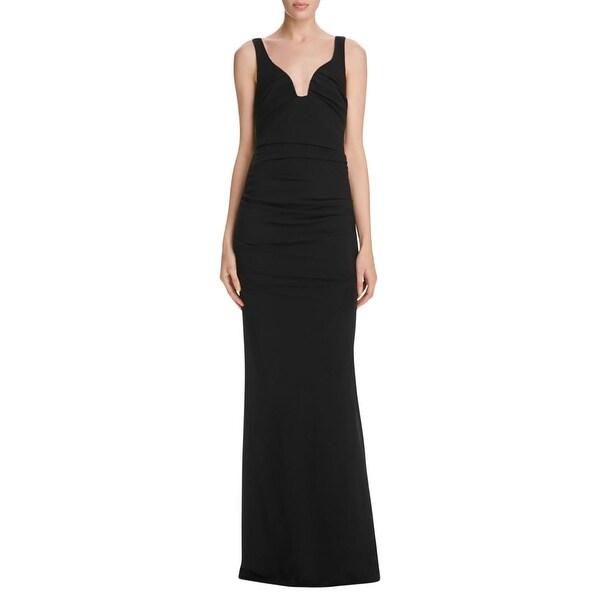 Shop Nicole Miller Womens Evening Dress Full-Length Low Neck - Free ...