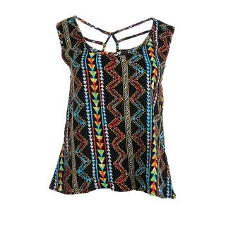 Eye Shadow Womens Juniors Printed Cut-Out Casual Top